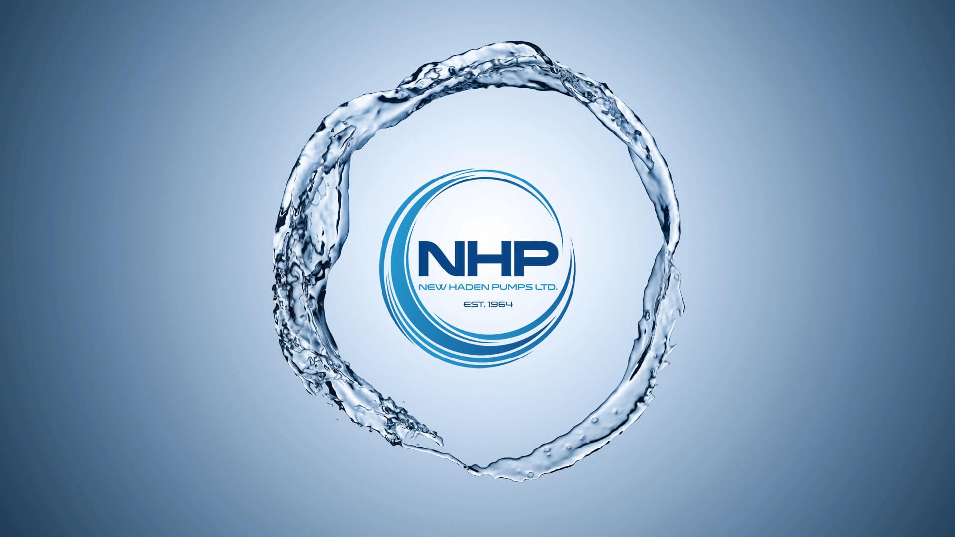 New Haden Pumps Logo in Water Swirl